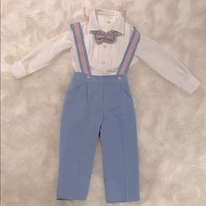 Christiano Set baby blue and pink suspender set